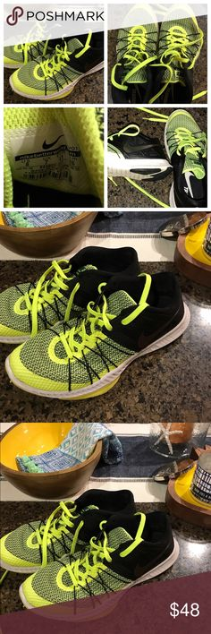 Men's Nike Training shoes neon yellow & black sz 8 Men's size 8 bright neon green/yellow and black with reflective Nike swoosh.  Black by sight until light hits it.  Light weight.  These were my teenage sons. Nike Shoes Sneakers
