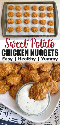 Healthy Baked Sweet Potato Chicken Nuggets (Quick & Easy!) Sweet Potato Toddler Recipes, Toddler Chicken Recipes, Ground Chicken Recipes, Lunch Box Recipes, Baby Food Recipes, Lunch Ideas, Healthy Recipes, Easy Recipes, Dinner Ideas