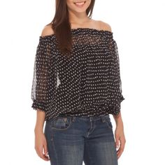 On or Off The Shoulder Polka Dot Top - black white Cool Outfits, Casual Outfits, Fashion Outfits, Womens Fashion, Polka Dot Blouse, Polka Dots, Nouveau Look, Fashion And Beauty Tips, Cool Style