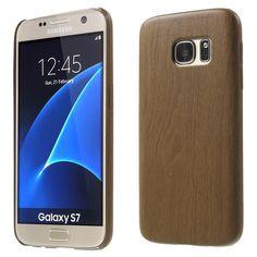 Javu - Samsung Galaxy S7 Hoesje - Harde Back Case Houtprint Bruin   Shop4Hoesjes