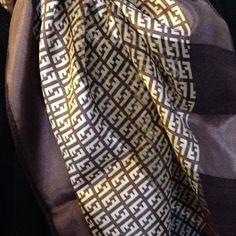 Authentic..100% Silk FENDI Scarf Brown/Gold Elegant FENDI Scarf Made in Italy 100% Silk **Authentic ** FENDI Accessories Scarves & Wraps