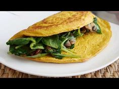 Vegan egg omelette with sun-dried tomatoes, mushroom and spinach filling | Exceedingly vegan