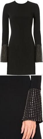 Black Studded-Cuff Mini Dress