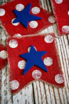 This red, white and blue Fourth of July banner is a great DIY project.