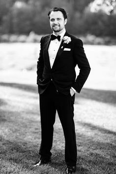 Classic black and white tuxedo. Black buttoned shirt with black bowtie and white pocket square. Image by Tyme Photography White Pocket Square, Black And White Tuxedo, Black Button, Groomsmen, Classic, Photography, Shirts, Image, Style