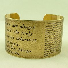 Edgar Allan Poe - 'Murders in the Rue Morgue' - Original Sleuthing Literary Quote Brass Cuff Bracelet