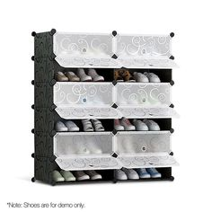 Shoe Storage Cabinet Shoes Rack Shelf Cube Organiser Stackable Portable 6 Tier If you are a stickler for a neat and tidy entrance, then our 12-compartment Shoe Cabinet is right up your alley.With a large 32-litre storage space, the Shoe Cabinet allows you to store a host of footwear easily. Up to 24 pairs or more (depending on your shoe type and size). Better still, the Cabinet can be configured to suit your space requirements. Side by side, stacked tall or a combination to suit your space, the Diy Shoe Storage, Shoe Storage Cabinet, Plastic Shelves, Plastic Storage, Shoe Rack With Shelf, Rack Shelf, 6 Tier Shoe Rack, Stackable Shoe Rack, Cube Organizer