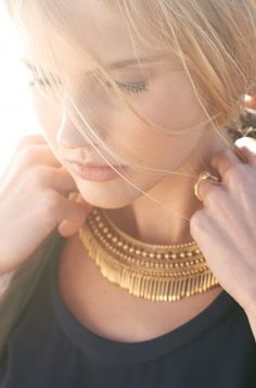 Gold Fringe Statement Necklace | Tansy Gold Fringe Collar Necklace | Stella & Dot