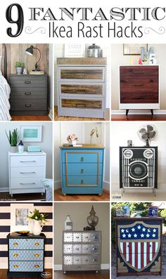 This IKEA Rast Hack rocks. Industrial style inspired IKEA Rast hack with industrial style hardware and a two-toned finish of wood and farmhouse gray. Ikea Furniture Hacks, Upcycled Furniture, Furniture Projects, Furniture Makeover, Ikea Hacks, Diy Hacks, Bedroom Furniture, Dresser Makeovers, Diy Projects