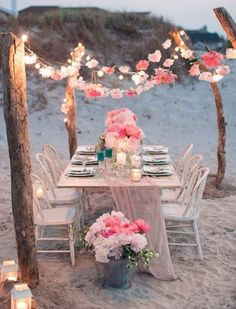 7467fe548060f wonderland... flower garland tablescape and string lights beach wedding  ideas. Clarissa Bonet · BoHo anniversary Party