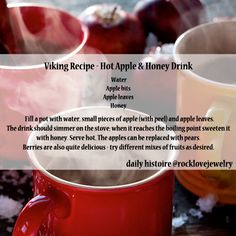 Viking Hot apple and honey drink Old Recipes, Vintage Recipes, Cooking Recipes, Unique Recipes, Medieval Recipes, Ancient Recipes, Vikings, Yummy Drinks, Yummy Food