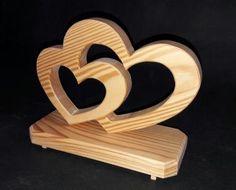 Holzdekoration | Doppelherz Lärche geölt, zur Hochzeit, Verlobung, Valentinstag... Höhe ca. 15cm, Länge ca, 25 cm