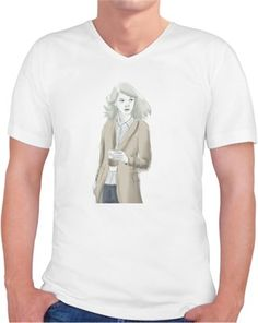 kahve içen kız Kendin Tasarla - Erkek V Yaka Tişört