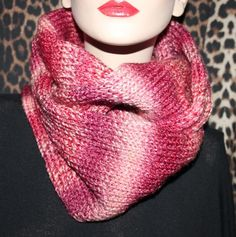 Hand made knitted women cowl hood infinity scarf neck warmer snood shawl pink £15.00