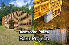 Awesome Pallet Barn Project. This barn would be great for animals or to store stuff. Heck, you could even make a room or an office in one if you wanted too