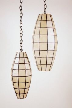 Mid-Century Modern Capiz Shell Faceted Hanging Pendant Lamps.