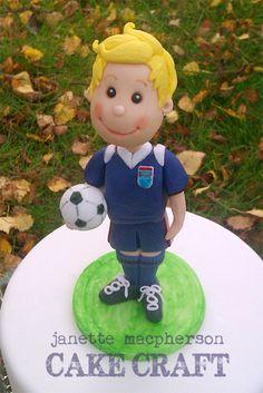 - Footballer cake topper hand modelled in fondant and gumpaste
