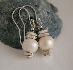 Pearl and silver earrings by JudysDesigns