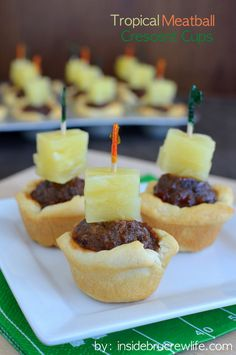 Tropical Meatball Crescent Cups - barbecue meatballs and pineapple get portable in a crescent roll cup