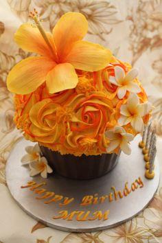 Birthday Cakes - Pacific Islands Hibiscus & frangipani Giant Cupcake Large Cupcake Cakes, Big Cupcake, Cupcake Cake Designs, Mini Cakes, Cup Cakes, Orange Cupcakes, Giant Cupcakes, Yummy Cupcakes, Twin Birthday Cakes