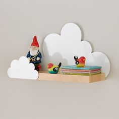 Display books, toys and more in the bedroom or playroom with kids shelves from Crate and Barrel. Wall cubbies also brighten and organize your child's space. Cloud Nursery Decor, Clouds Nursery, Baby Decor, Kids Decor, Crate And Barrel, Deco Kids, Hexagon Shelves, Kids Storage, Storage Organization