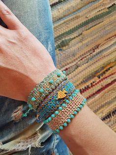 blue macrame summer bracelets, beaded bracelet, fish macrame
