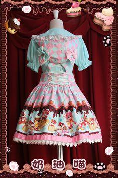 a8da59f57228 Sweet pink and blue original printing Cream Cat Lolita Dress Kawaii Mode,  Harajuku Mode,