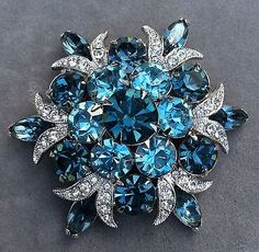 Fabulous Vintage Eisenberg Ice Blue Stone Brooch                                                                                                                                                                                 More