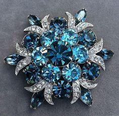 Fabulous Vintage Eisenberg Ice Blue Stone Brooch