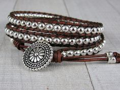 Skinny Silver Wrap Bracelet For Women - Beaded Leather Wrap Bracelet - Gemstone Bracelet - Gift for Her by NimbleKnots Studio