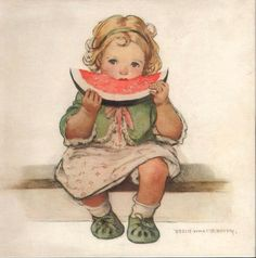Vintage Magazine Art ~ Little Girl with a Slice of Melon, by Jessie Willcox Smith (1863-1935)