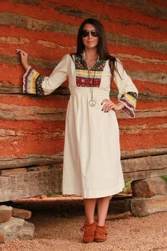 Vintage Hippie Princess 1970s 1960s Boho Dress
