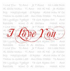 'I Love You' printable {notice 'love' in  different languages making the background}