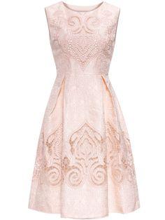 Vestido línea A hueco con bordado - rosa
