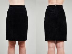 1980s Express Black Suede Leather Pencil Skirt  S by SoftServeVintage