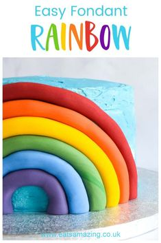 How to make a quick and easy fondant rainbow cake decoration - with step by step photo tutorial #EatsAmazing #Rainbow #RainbowCake #RainbowRecipe #RainbowFood #CakeDecorating #Fondant #FondantDecorations #Cake #KidsCake #FunFood #FondantDecoration #FondantIcing Fondant Rainbow, Rainbow Cupcakes, Rainbow Food, Fun Cupcakes, Easy Cake Decorating, Cake Decorating Tutorials, Best Dessert Recipes, Fun Desserts, Healthy Meals For Kids