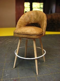 Dollhouse Miniature Furniture - Tutorials | 1 inch minis: 1 INCH SCALE MID-CENTURY BAR STOOL - How to make a 1 inch scale bar stool for your doll house.