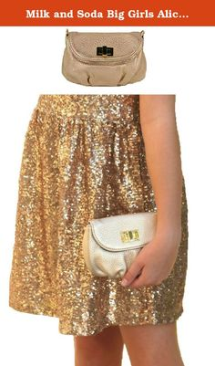 """Milk and Soda Big Girls Alice Mini Bag, Gold. A lovely clutch for that special little girl in your life. Made of soft, textured leather with a toggle closure, it's so cute the adults will want to borrow it! On the inside is written, """"Wherever you go I will go with you."""" This gold color has the right amount of bling and because the leather is textured, it is not too shiny. 7 1/2"""" wide x 5"""" high x 3/4"""" depth. Expands to about 2"""" depth. Designed in Australia. Recommended for children 3…"""