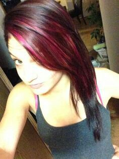 Black hair with Hot Pink highlights. Just enough to bring out your eyes. Ombre would be nice, although this better!!