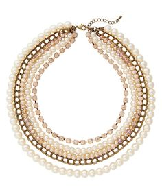 Look what I found on #zulily! Creme Pearl & Chain Link Necklace by The Limited #zulilyfinds