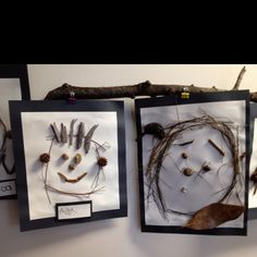 Make a self portrait with all the nature treasures that we collected. We used a nice sturdy paper and glue it with tacky glue.