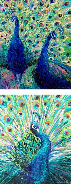 Finger paintings by Iris Scott | Top: Gemini Peacocks, Bottom: Pavoreal | oils on canvas | originals and prints | www.IrisScottFineArt.com | #peacocks #peacockart #blue #green #impressionism #contemporaryart #fingerpainting #art #IrisScott