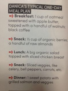 Danica Patrick's meal plan via Oxygen magazine