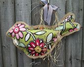 Big Burlap Bird Door Hanger Mixed Media Floral Pattern