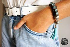 AGUAMARINA bracelet #bracelet #tutorial #strass #trapillo #DIY #pulsera #borla #tassel #manualidades