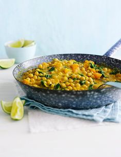 This chickpea and squash coconut curry is a great healthy, vegetarian midweek meal. If you can get it, Alpro coconut milk alternative has less saturated fat and fewer calories than regular coconut milk as its made with a rice milk base. Chickpea Recipes, Veggie Recipes, Vegetarian Recipes, Healthy Recipes, Vegetarian Options, Healthy Dinners, Healthy Foods, Easy Vegetarian Curry, Coconut Curry