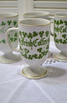 Vintage Irish Coffee Mug Cup Set of 4 White Green by PanchosPorch