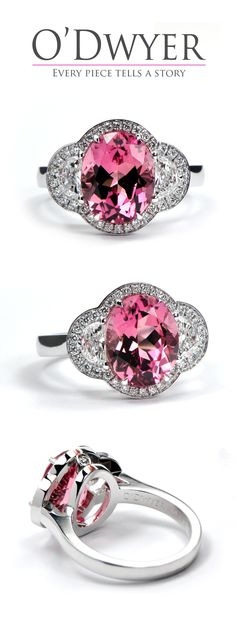 18ct white gold ring with av oval cut pink tourmaline ring with diamonds.