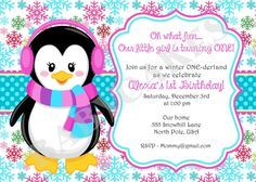 Penguin Winter ONEderland Snowflake 1st Birthday Invitation - DIY Print Your Own -  Matching Party Printables Available. $12.00, via Etsy.