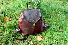 Купить Рюкзак из натуральной кожи в стиле бохо шоколадно-бордовый - коричневый, однотонный, бордовый, комбинированный